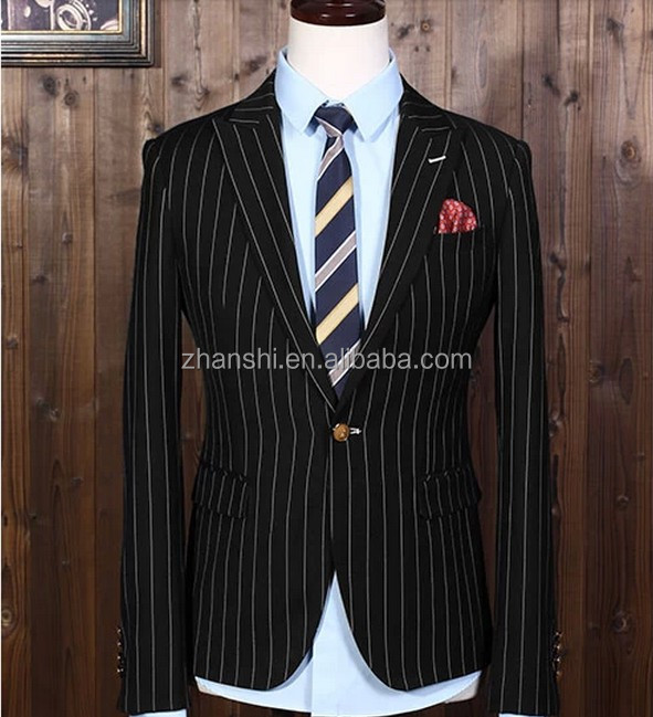 Black Suit With White Lines Dress Yy