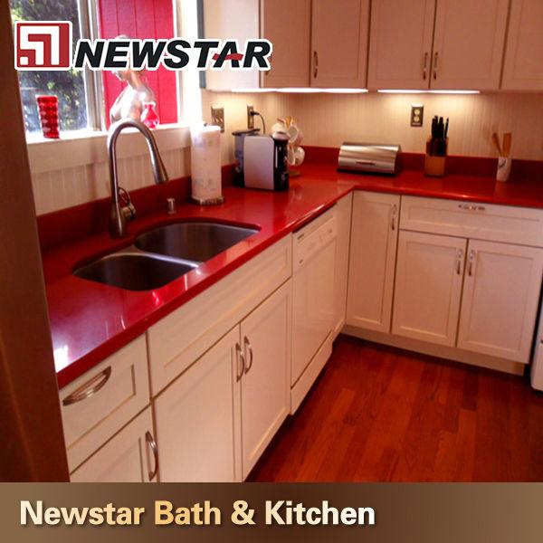 Red Mirro Quartz Kitchen Countertop - Buy Quartz Kitchen ... | {Küchenarbeitsplatte rot 0}
