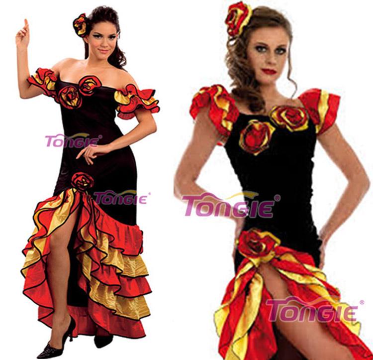 rumba salsa dames espagnol mexicain flemenco déguisement carnaval