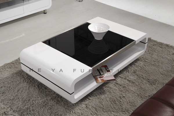 Glass top high gloss white wooden touch screen coffee for Unique center table designs