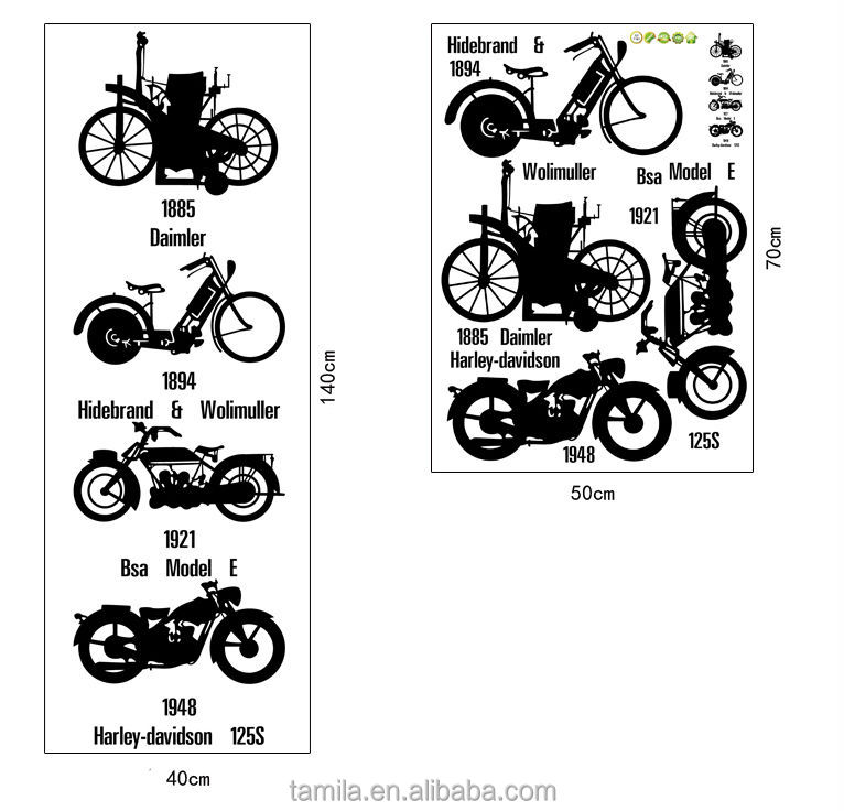 Diy Stickers Wall Stickers Free Stickers Retro Bike Sofa