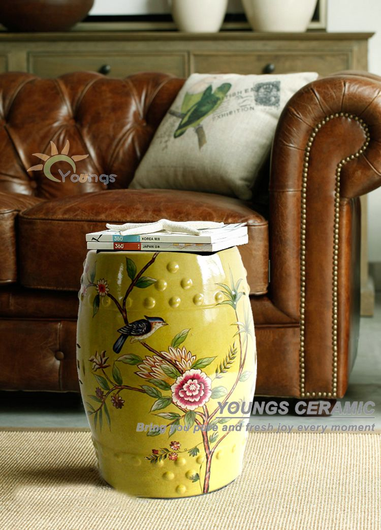 Yellow Glazed Flower And Bird Design Chinese Ceramic Garden Stool