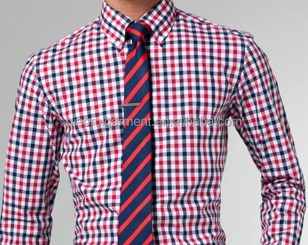 Men's Spring High Quality Red And Blue Gingham Button Down Collar ...