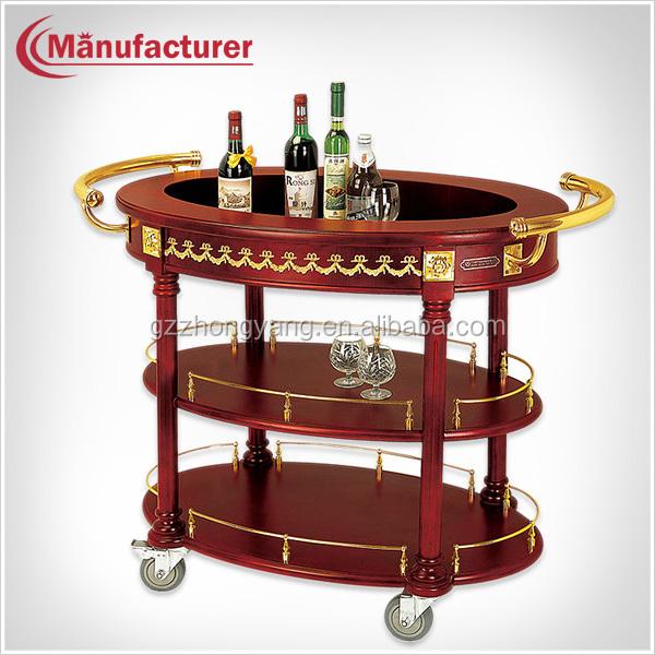 3 Layer Hotel Wood Food Service Handle Cart With Wheels coffee& Beverage Trolley Buy Beverage