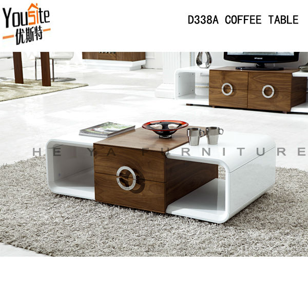 Bn Design High Gloss White And Walnut Coffee Table With 2: Wooden Dvd Player Free Standing Living Room Tv Stand