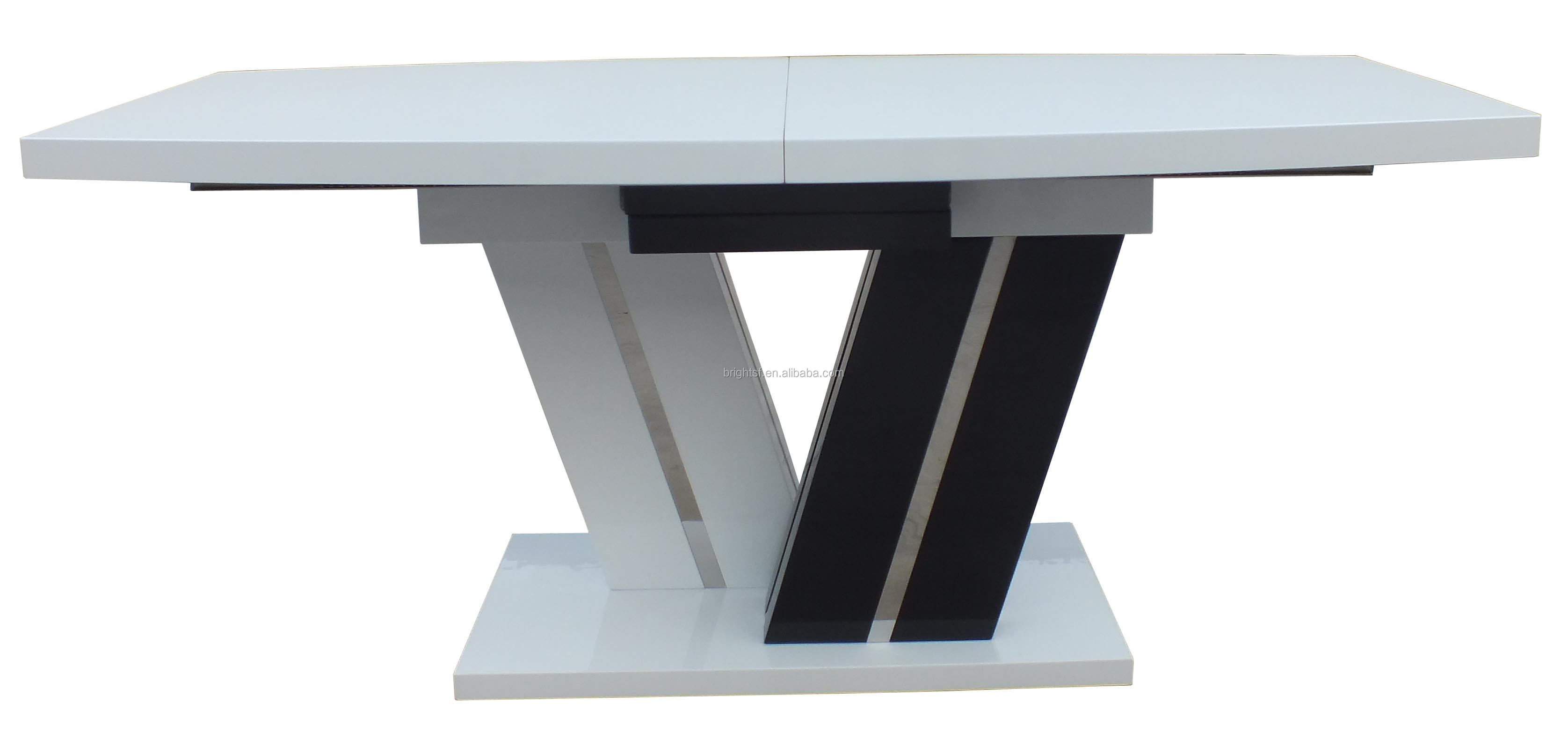 2015 Modern Folding MDF High Gloss White And Black Dining Table For Dining  Room