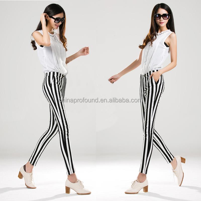 Women Striped Pants Fashion Women Skinny Pants Black White - Buy ...