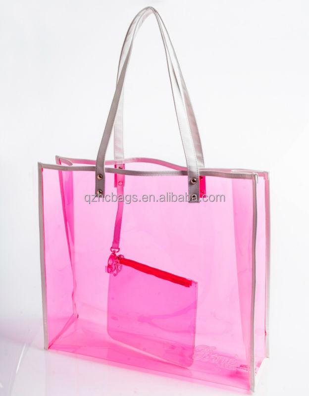Waterproof Clear Pvc Beach Bag With Zipper Pouch (esc-hb028) - Buy ...
