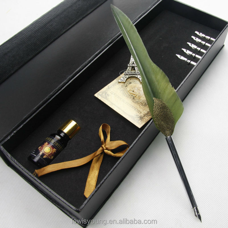 Groothandel promotionele feather pen set gift