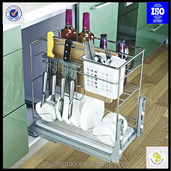 Stainless steel pull out wire basket factory price buy for Kitchen set rak piring