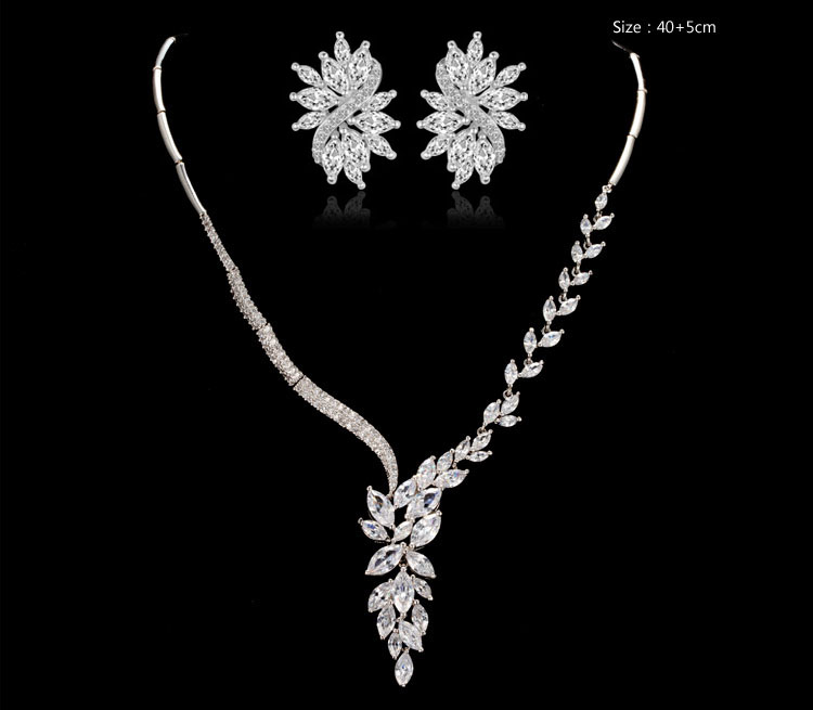 LUOTEEMI Rhodium Plated Marquise Cut AAA Cubic Zirconia Flower Jewely Set With Flower Wedding Accessory Necklace and Earring