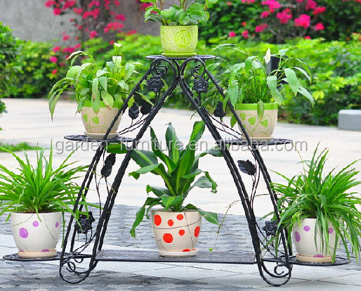 Handicraft Home Garden Decor Display Shelf Metal Planter Holder, Garden Idea