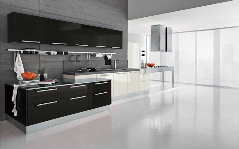 High Quality Fiber Kitchen Cabinet White And Black Gloss Finish For Modular  Kitchen Part 17