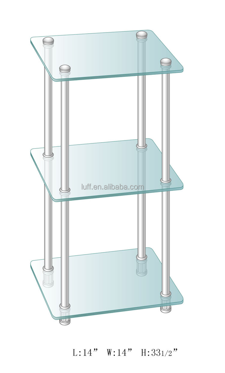 Clear Tempered Glass Bathroom Storage Three-tiers Square Glass ...