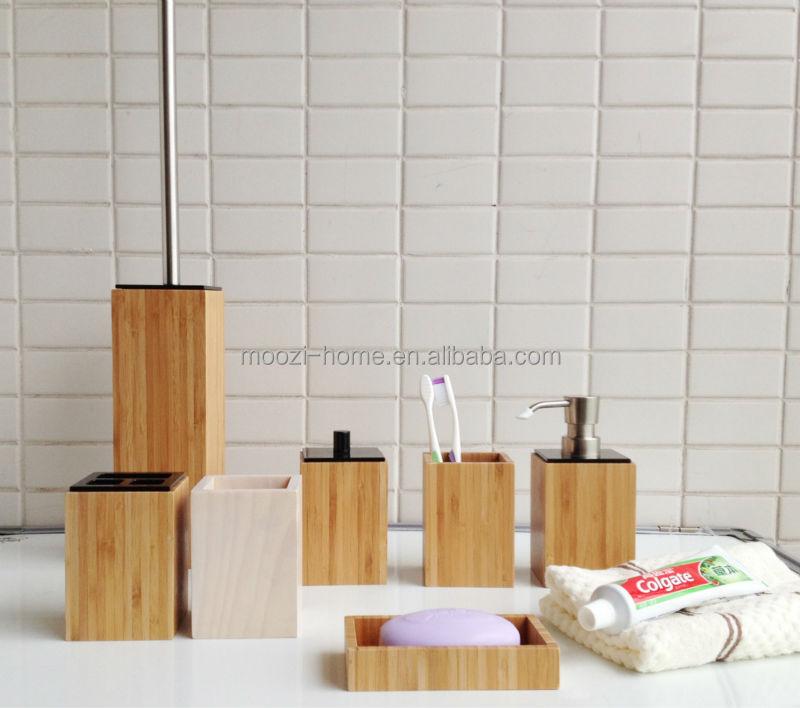 wooden bathroom accessorie spa sets bamboo bathroom accessories