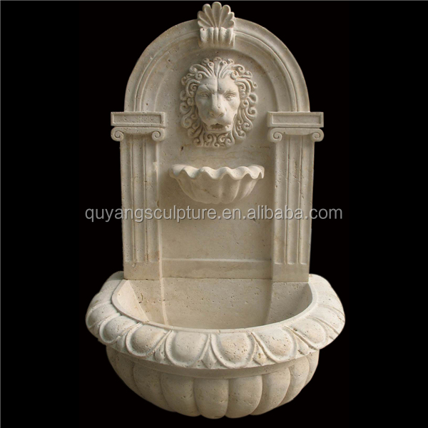 Hand Carved Travertine Wall Fountain Lion Head Style