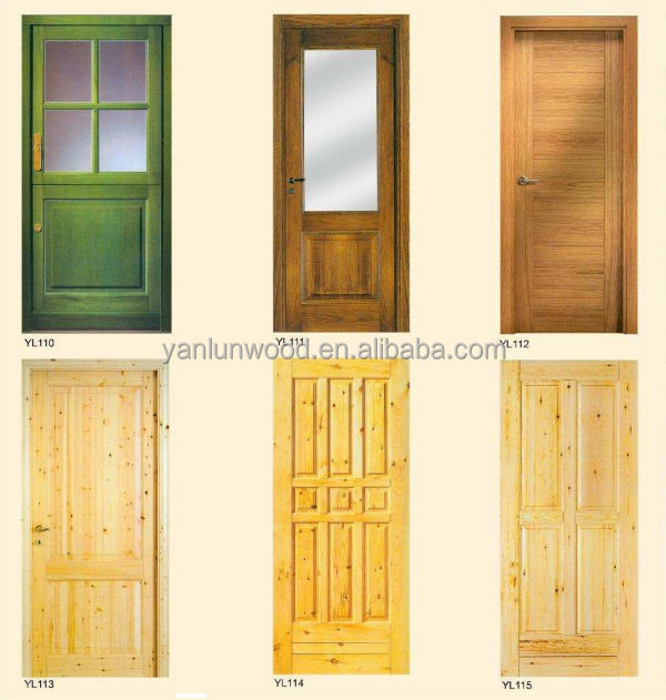 2015 newest design unfinished sound knotty solid pine wood for Yellow pine wood doors