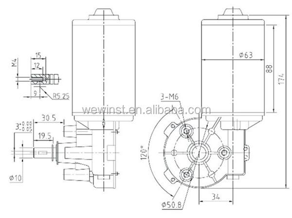 12v 24v Dc Motor Waterproof Small Noise Dc Gear Motor D63l 2465 180