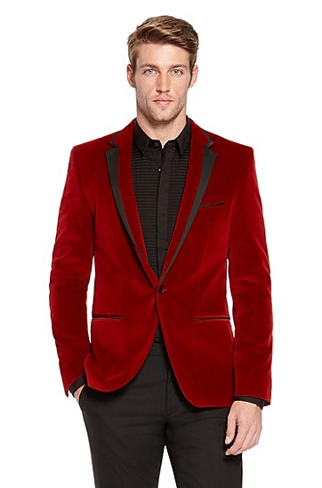 2014 Top Quality Two Pieces One Button 100% Wool Red Velvet Jacket