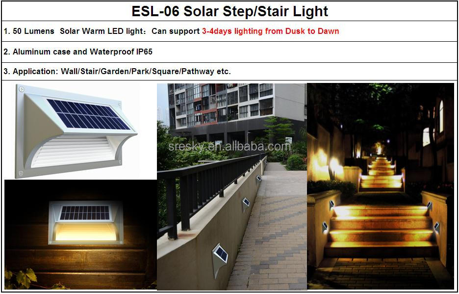 Warm White Decoration Led Solar Step Lights Outdoor For Safety ...