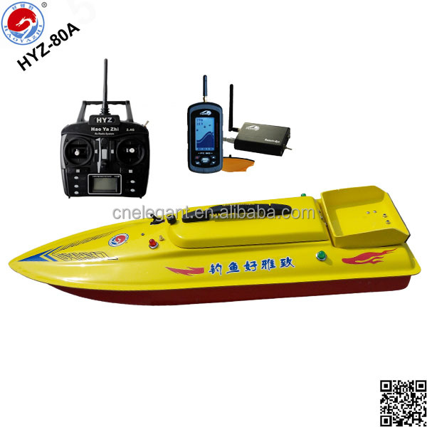 rc boat fiberglass hyz-80a sonar wireless fish finder bait boat, Fish Finder