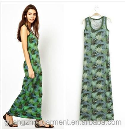 Evening Gown Sleeveless Pea Print Chiffon Long Maxi Y Las Dress For Casual Daily Beach Wear