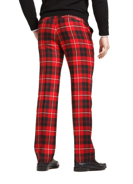 Men Red Plaid Straight Leg Pants - Buy Red Plaid Pants,Plaid Pants ...