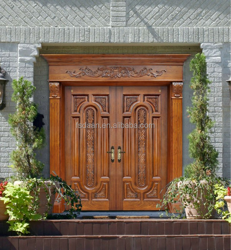 Luxury exterior wooden double door designs buy exterior for Double door wooden door