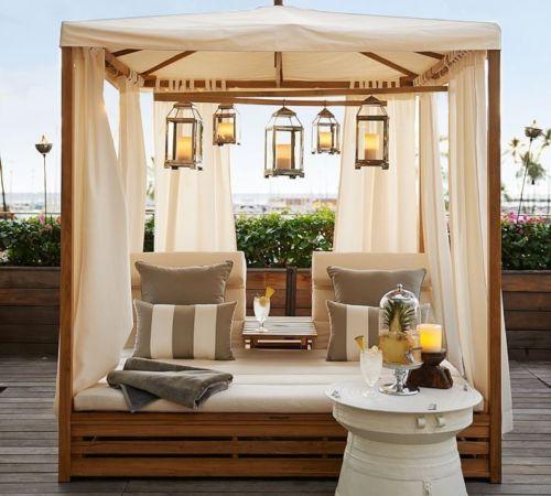 im freien patio chaise daybed baldachin lounge chair teak wood garden