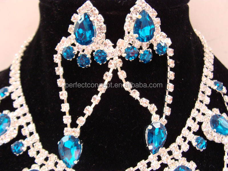 Wholesale Necklace And Earring Set Blue Rhinestone Chain Multilayer Necklace Jewelry For Party