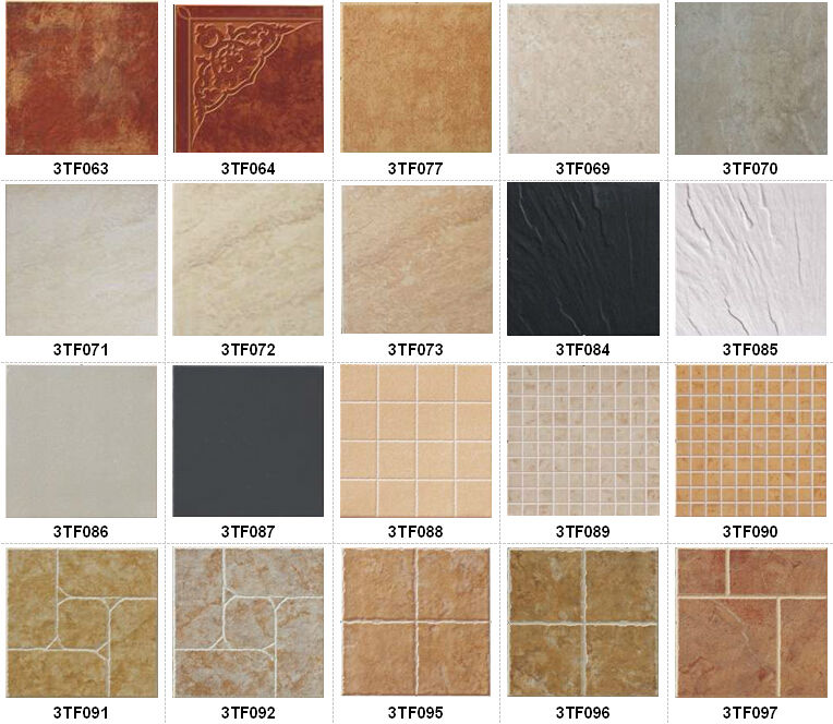 Outdoor villa glazed porcelain tile orange color ceramic Different design and colors of tiles