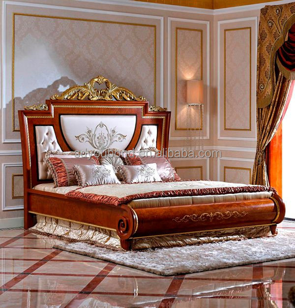 0038 High quality royal wooden carved antique bedroom furniture ...