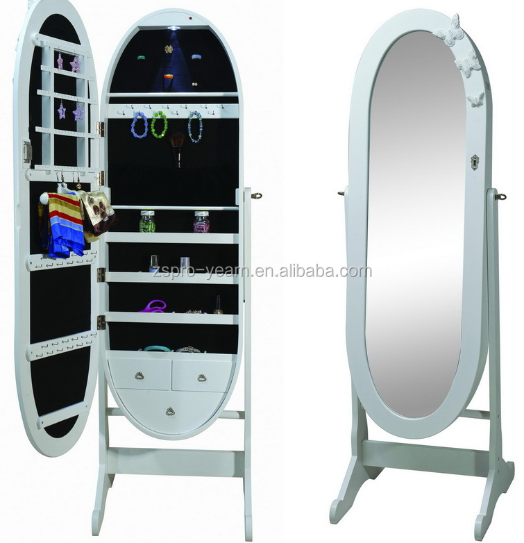 Oval Chinese Wooden Mirrored Jewelry Cabinet Floor Standing Furniture With  Butterfly Shape Applique And Magnet On