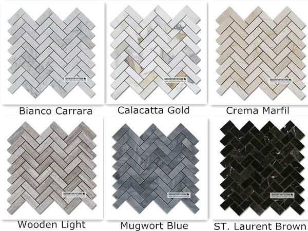 Honed Italian Calacatta Gold 1x3 Herringbone Pattern