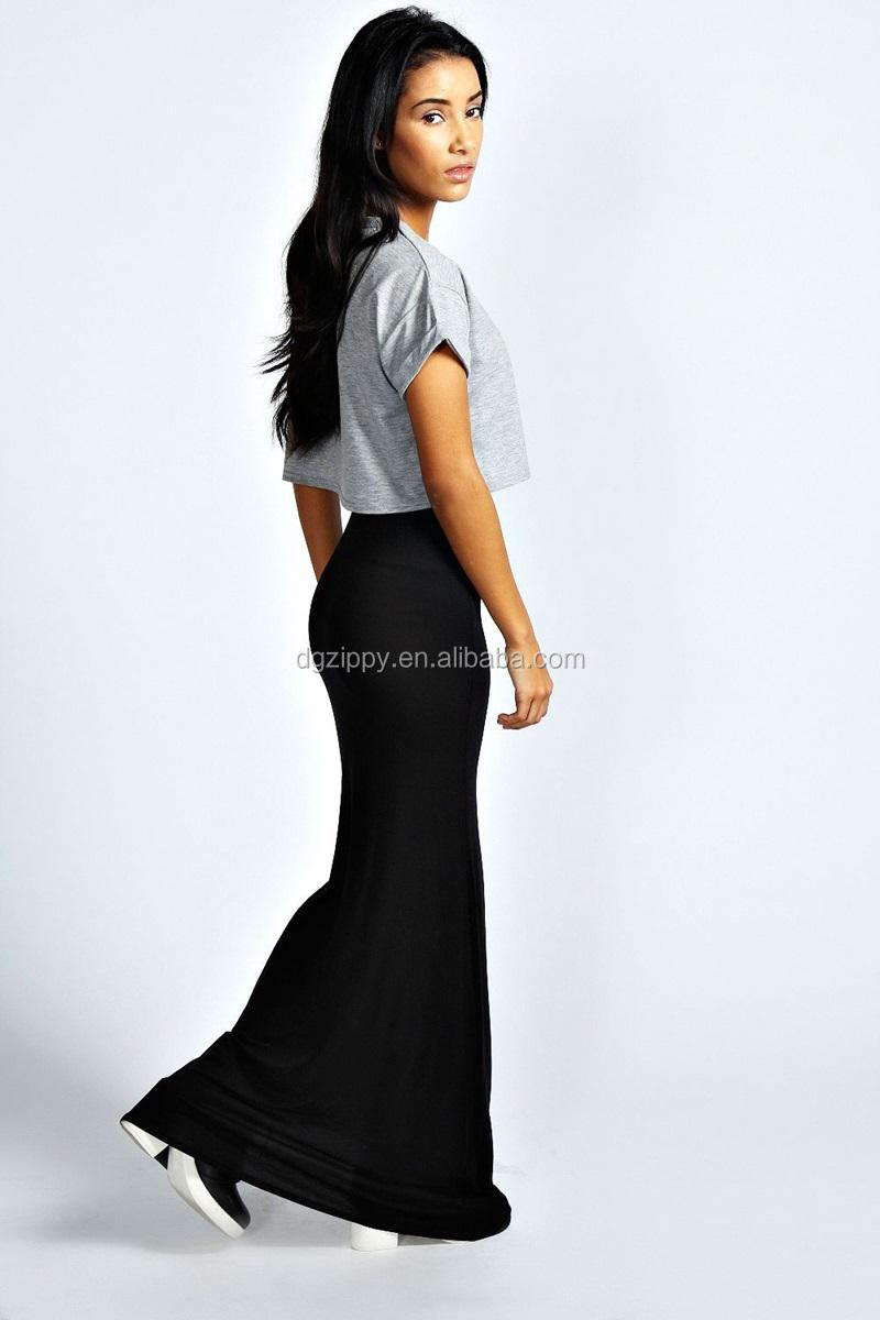 Wholesale Thigh High Split Formal Skirt Long Black Gypsy Skirts ...