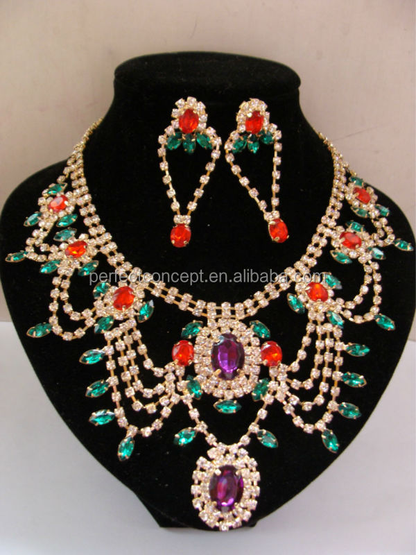 multi rows necklace earring set cup chain crystal amethyst siam