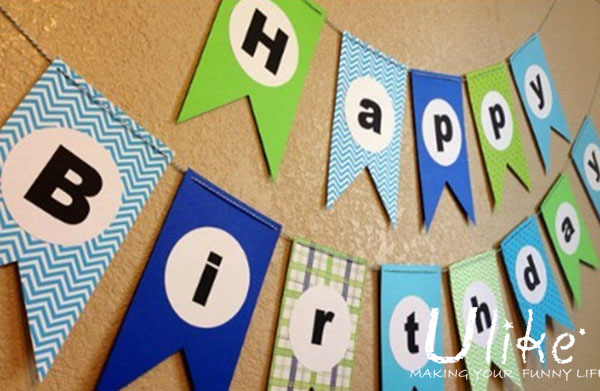 cheap paper letter string flagbanner for wedding party decoration