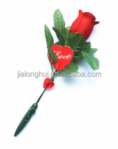 Valentine Flowers Gift Led Light Red Rose Sound Recorder Plastic