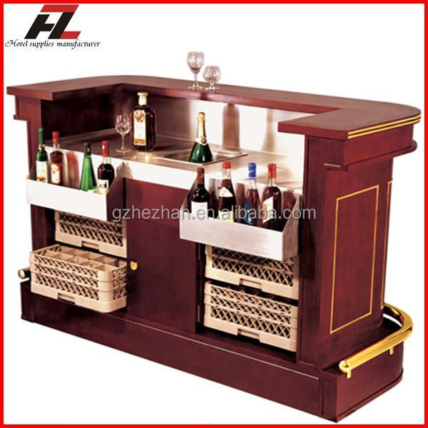 Hotel modern mobile bar counter mahogany home bar buy for Bar movil de madera