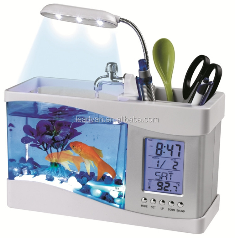 Mini Fish Tank Desktop Mini Aquarium Tank With Led Lamp ...
