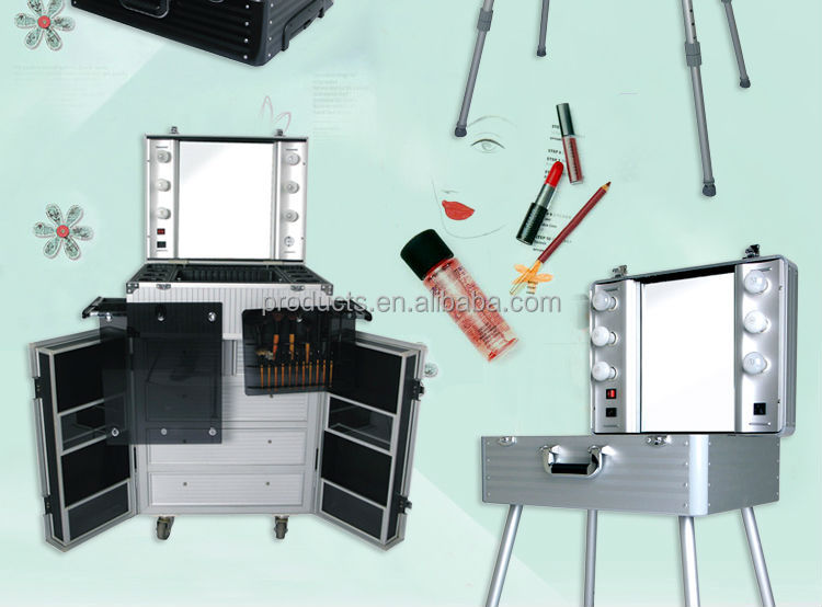 For Makeup Artist,Hair Beauty Salon Aluminum Makeup Case With Light With  Mirror,Professional
