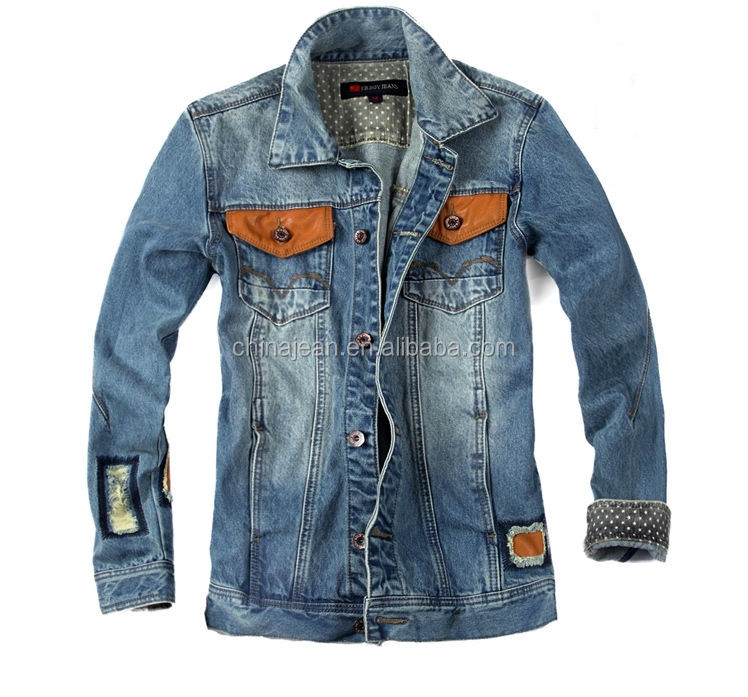 2015 New Design Mens Leather Jacket Denim Ripped Jean