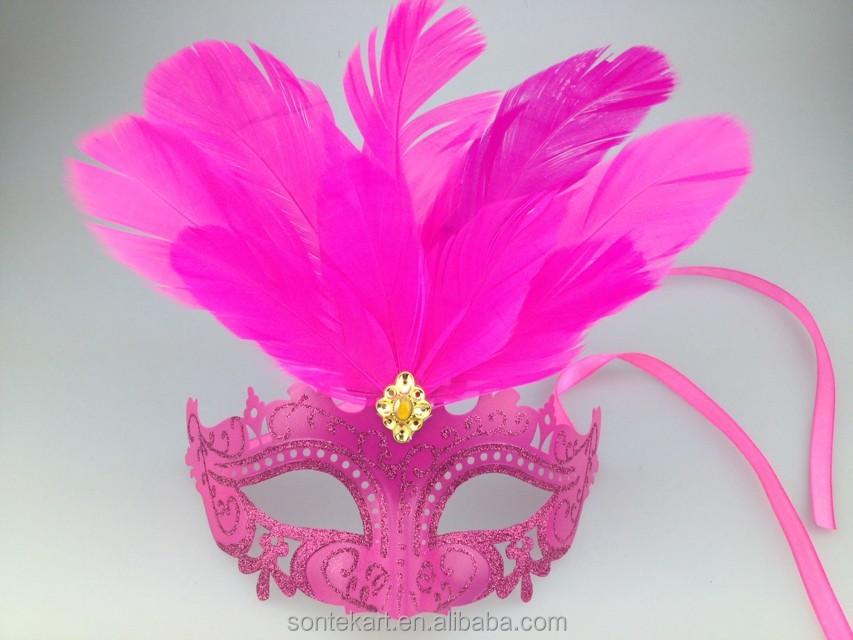nuevo diseo elegante decoracion de la mascarada de carnaval mscara de plumas de avestruz