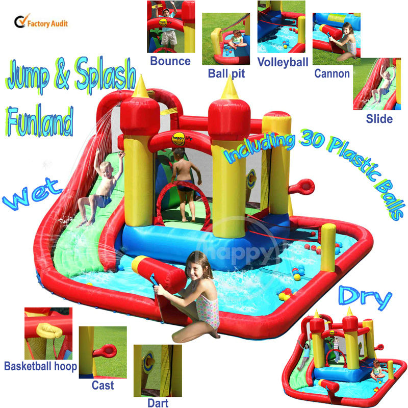 Happy Hop Inflatable Bouncer-9016 Children Water Slide Pool Bouncer,inflatable bouncer and Water Slide Park for sale