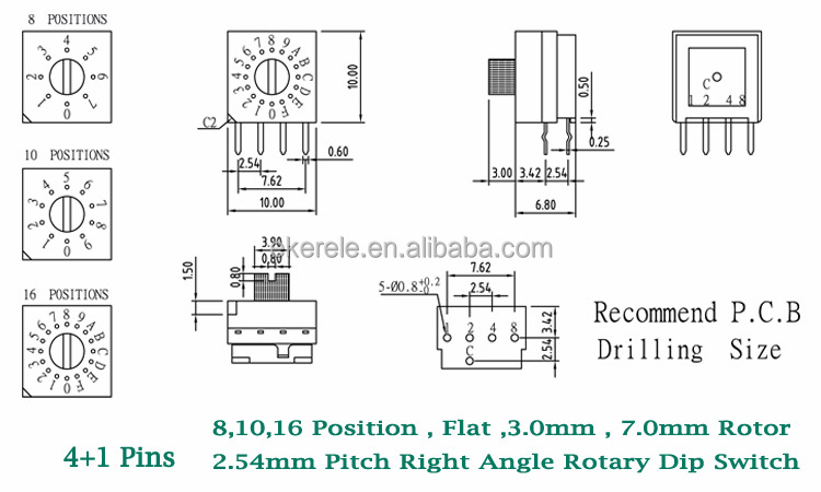 Right Angle Type Dip Switch 2.54mm Pitch 8 10 16 Positions