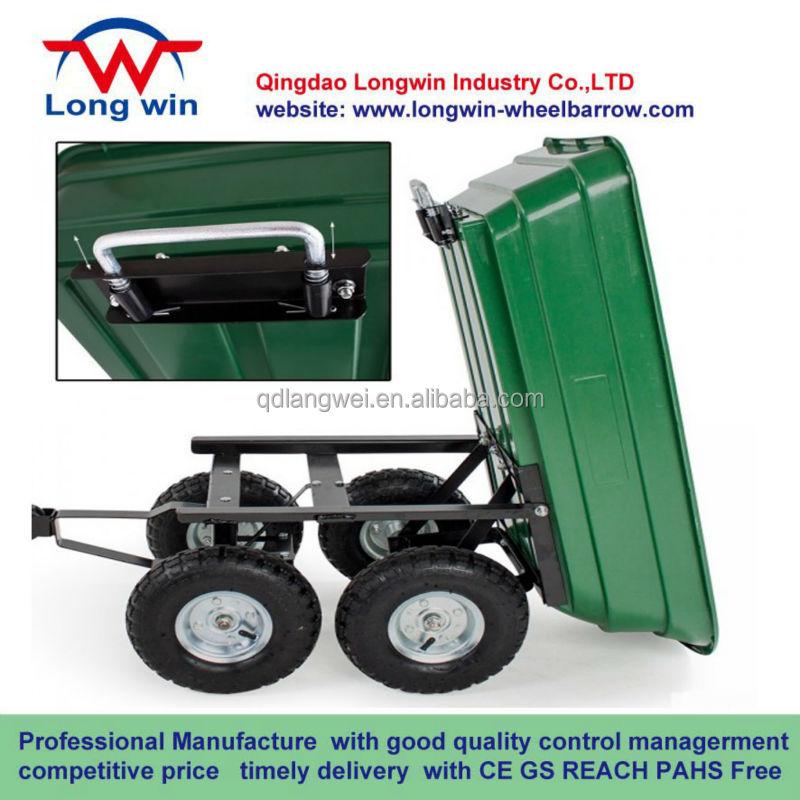 Heavy Duty Garden Dump Cart Yard Wagon Lawn Wheelbarrow Mower Utility  Trailer