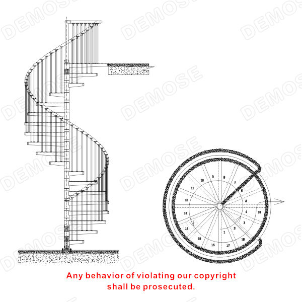 Mild steel spiral staircase dimensions buy mild steel for Spiral stair cad