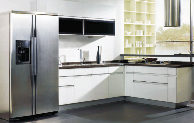 l shape lacquer kitchen cabinet of fashion kitchen