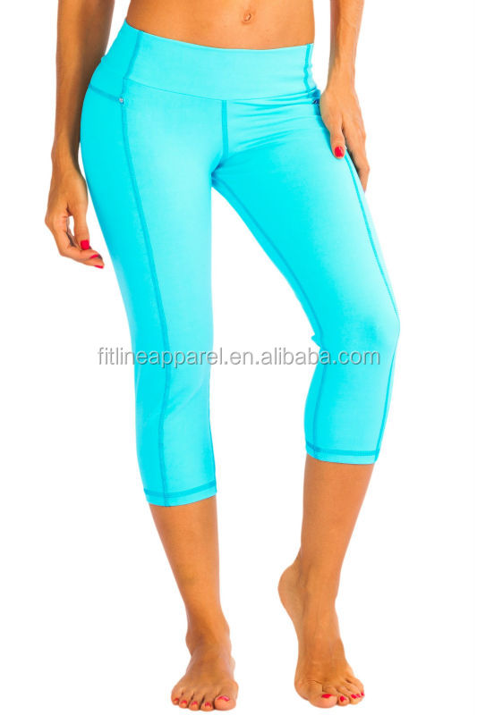Bright Blue Girls Yoga Capri / 4 Way Stretchy Womens 3/4 Yoga ...