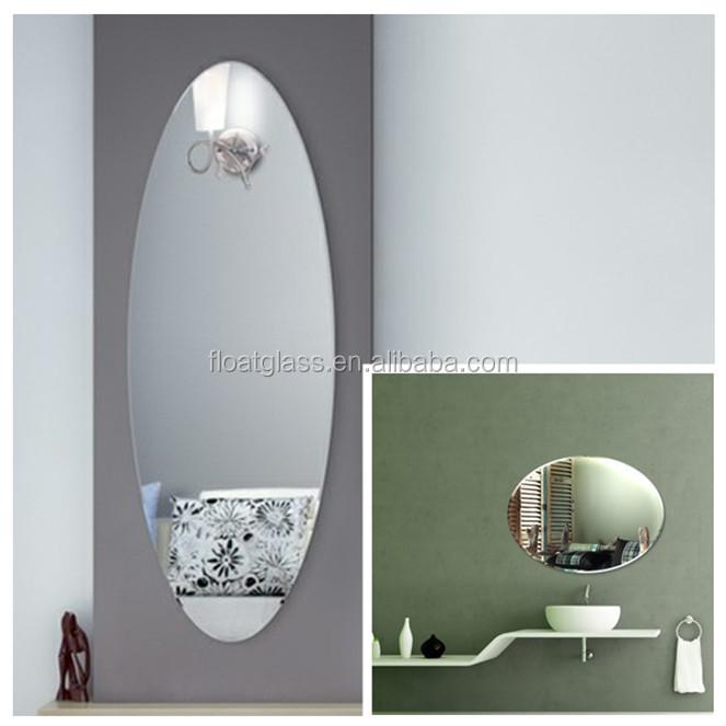 moderno oval plata sin marco ovalado espejo compacto espejo de pared para saln